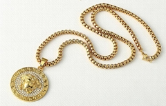 versace Chain necklace crystal 3D Medusa metal pendant men women fashion luxury
