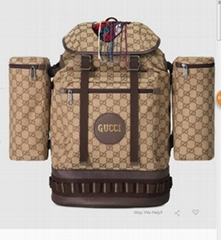 3d2bf7294ce Gucci Large GG Camel  ebony canvas backpack Crystal embroidered applique