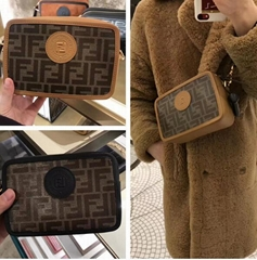 FENDI CAMERA CASE Brown fabric Compact bag cross-body jacquard FF luxury handbag