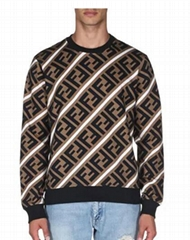 Fendi Men's Horizontal Stripe Sweatshirt Long sleeves Pullover style fashion