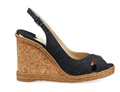 Jimmy Choo Amely Denim Cork Wedge Sandals cork and braided-jute wedge heel.