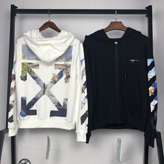 Off-White Men's Colored Diagonal-Arrows Zip-Front Hoodie men women luxury cheap