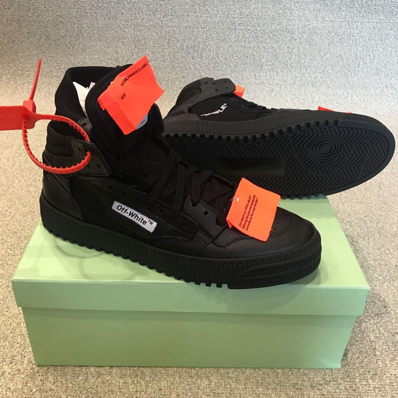 Off-White Men's Off Court High-Top Leather Sneakers men women luxury brand shoes 5