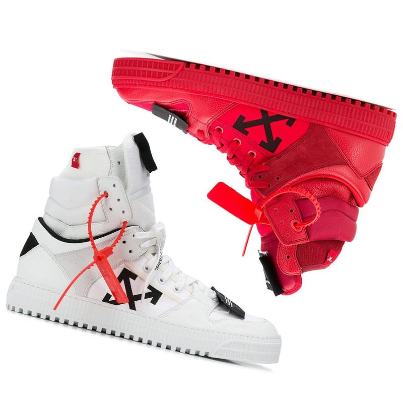 Off-White Men's Off Court High-Top Leather Sneakers men women luxury brand shoes 13