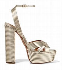 AQUAZZURA Sundance 150 metallic faux leather platform sandals women high heels