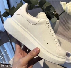 ALEXANDER MCQUEEN oversized sole sneakers men women white leather platform shoes