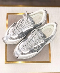 jimmy choo RAINE Platinum Mix Calf Painted Coarse Glitter Fabric Sneakers