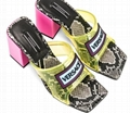 VERSACE 70 PVC Snake slip-on slide Sandals snakeskin mid high block heel