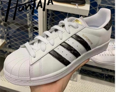 adidas Originals White & Black Superstar Sneakers Low-top buffed leather shoes