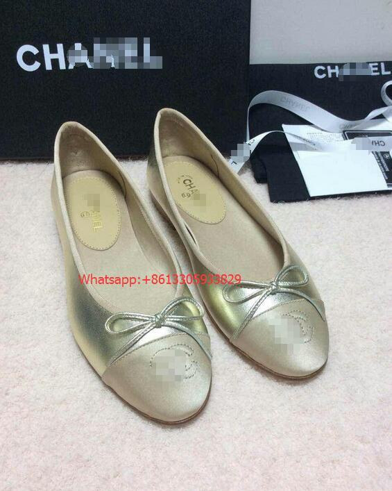 CC Plain Leather Block Heels Elegant Style Ballet Shoes