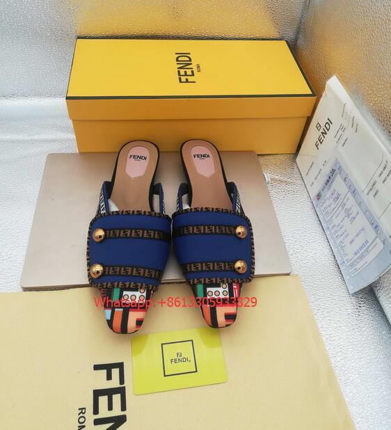 Fendi FF Fabric Sabots Slippers 2019 summer new style cheap desgin flats— blue