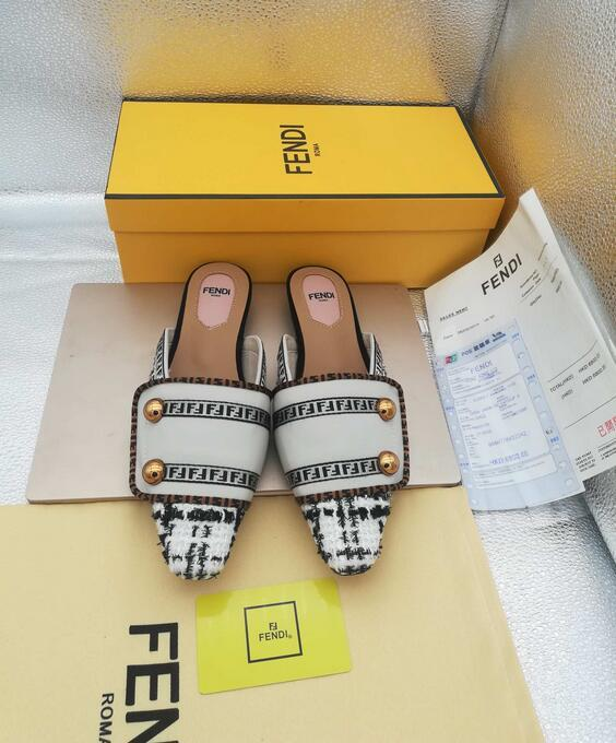 Fendi FF Fabric Sabots Slippers 2019 summer new style cheap desgin flats—white