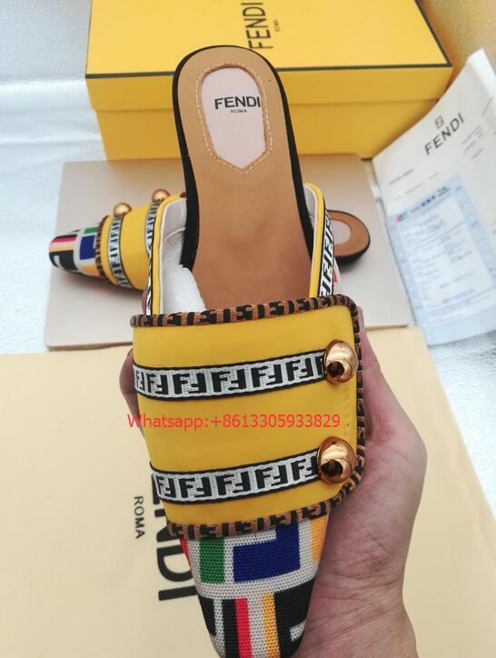 Fendi FF Fabric Sabots Slippers 2019 summer day new style cheap desgin flats 16