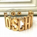 Moschino Gold Black Gold-tone Leather Letter Logo Bracelet cheap price to sale