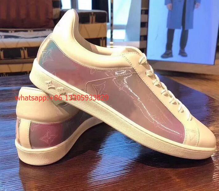 Louis Vuitton 19 new Laser pvc rainbow lace-up casual board shoes