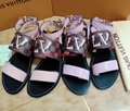 LOUIS VUITTON 1A5LUO Passenger flat Sandal Damier canvas with natural calf leather