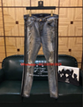 AMIRI TRACK JEANS ROSEBOWL LIGHT WASH DESTROYED DISTRESSED SKINNY— IMG 1