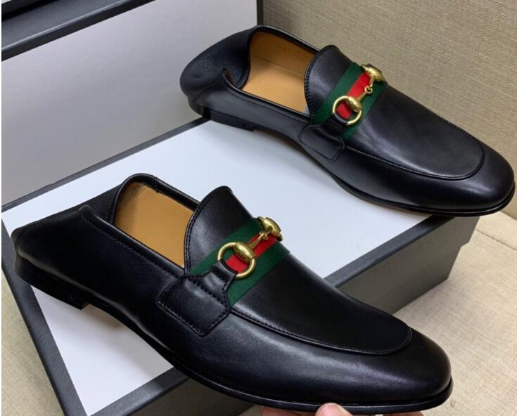 Gucci Men's leather Horsebit loafer with Web women fashion dress shoes flats