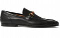 Gucci Black  Horsebit leather loafer With Foldable Heels with Web- Style ‎322500