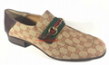 GUCCI GG Canvas Leather Gold Horsebit Loafers Men s Shoes
