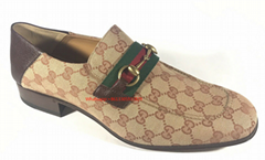 GUCCI GG Canvas Leather Gold Horsebit Loafers Men's Shoes