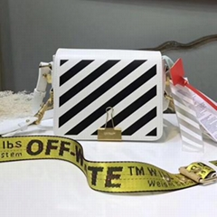 Off-White Mini Diagonal Stripe Binder Clip Leather Flap Crossbody Bag handbag