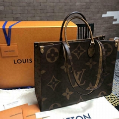 Louis Vuitton Giant ONTHEGO Monogram Reverse Neverfull ladies fashion handbag lv