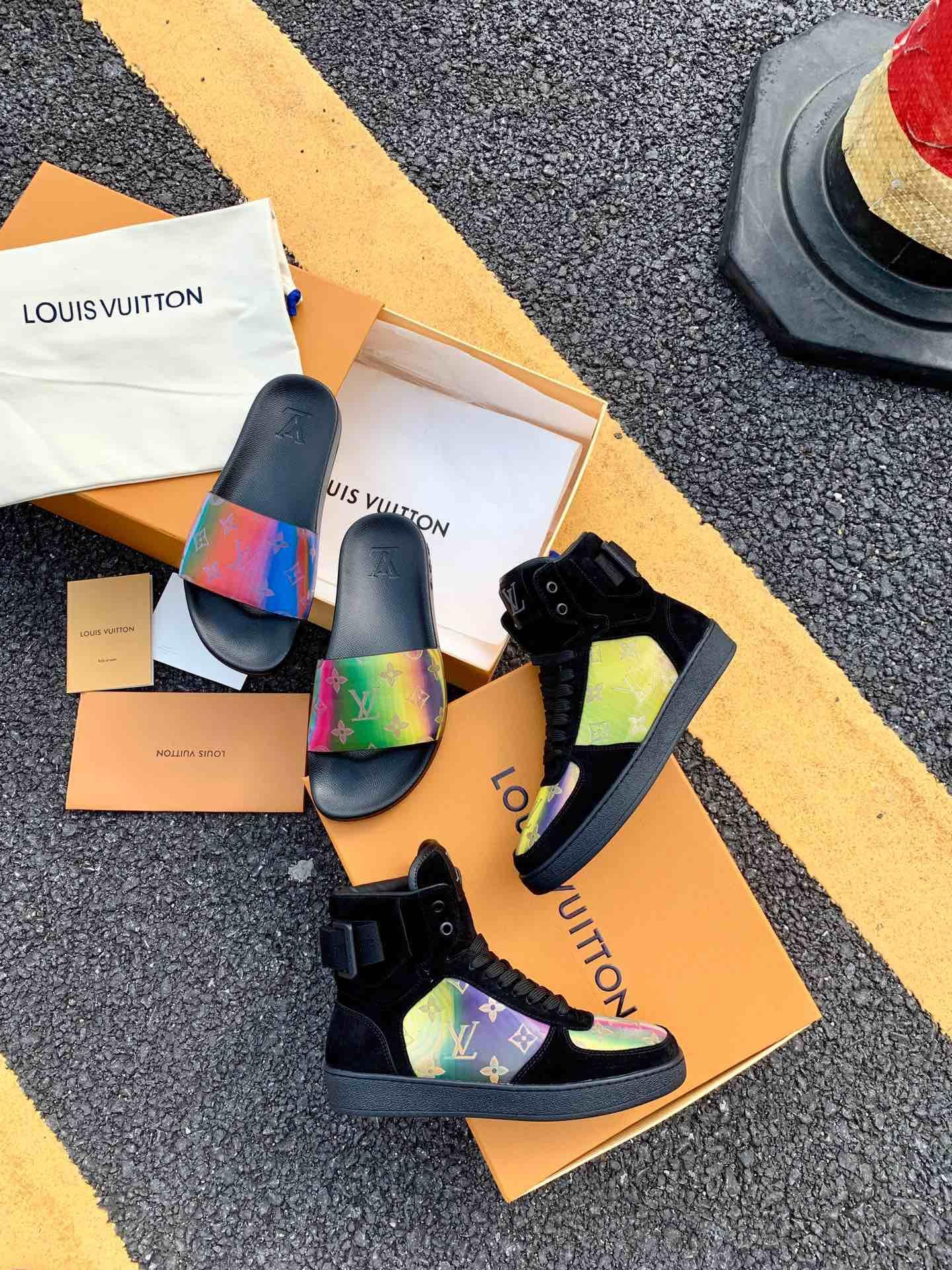 Louis Vuitton Rainbow Laser Magic Shoes pvc lace-up LV casual board Trainer 19