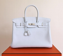 HERMES BIRKIN BAG 35 cm WHITE TAURILLION CLEMENCE PALLADIUM HW ladies handbag