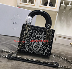 Christian Dior Mini Lady Smooth Calfskin Embroidered Bag White