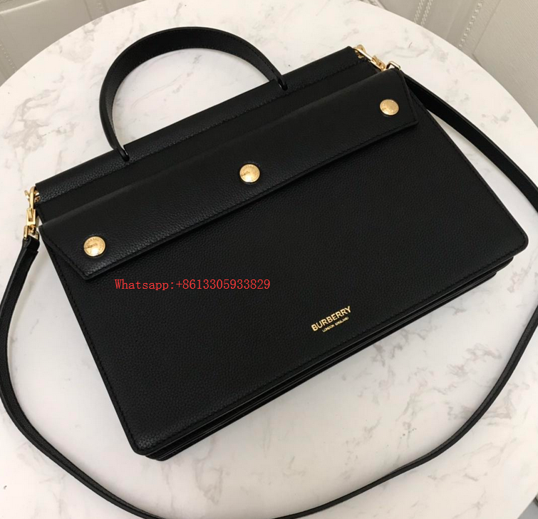 Burberry Mini Title tote Leather Crossbody Bag 8014783 Black