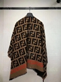 Fendi FF PONCHO Multicolor wool silk jacquard woven poncho scarf scarves online