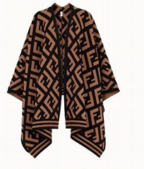 fendi FF PONCHO brown blended wool knit poncho Long poncho with rib knit borders