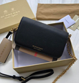 Burberry Leather and House Check Wallet with Detachable Strap 40681441 black