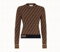 Fendi SWEATER Multicolor fabric sweater Long-sleeved close-fitting sweater