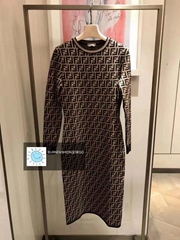 fendi Brown fabric Longuette dress with round neck and long sleeves all-over FF
