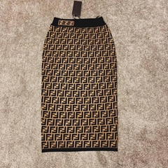 fendi Multicolor fabric skirt High-waisted pencil skirt black and brown FF