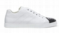 Fendi SNEAKERS White leather Slip-on sneakers with criss-crossing elastic straps