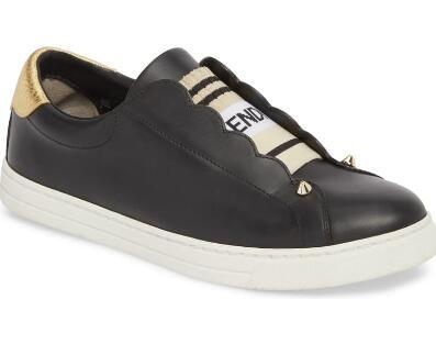 Fendi SNEAKERS White leather Slip-on sneakers with criss-crossing elastic straps 9