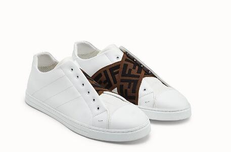 Fendi SNEAKERS White leather Slip-on sneakers with criss-crossing elastic straps 10