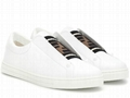 Fendi SNEAKERS White leather Slip-on sneakers with criss-crossing elastic straps 12