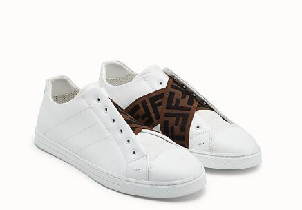 Fendi SNEAKERS White leather Slip-on sneakers with criss-crossing elastic straps 13