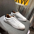 Fendi SNEAKERS White leather low-tops Bag Bugs eyes Lace-up sneakers men women