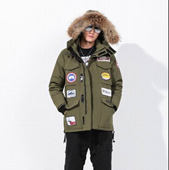 New Goose Down Carson Fusion Fit Parka With Coyote Fur Trim Black