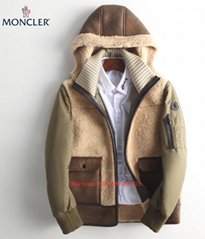 Moncler Mouton Leather Down Puffer Jacket marrone DELAGRANGE