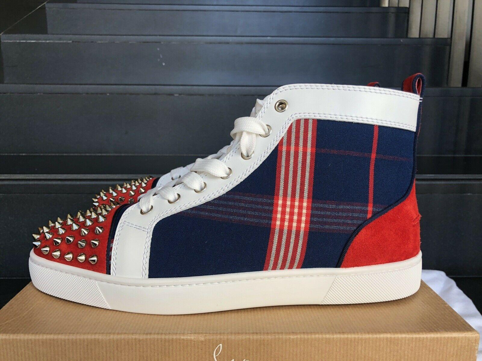 NEW Christian Louboutin Lou Spike Suede Cotton Mens Louis Orlato Sneakers shoes