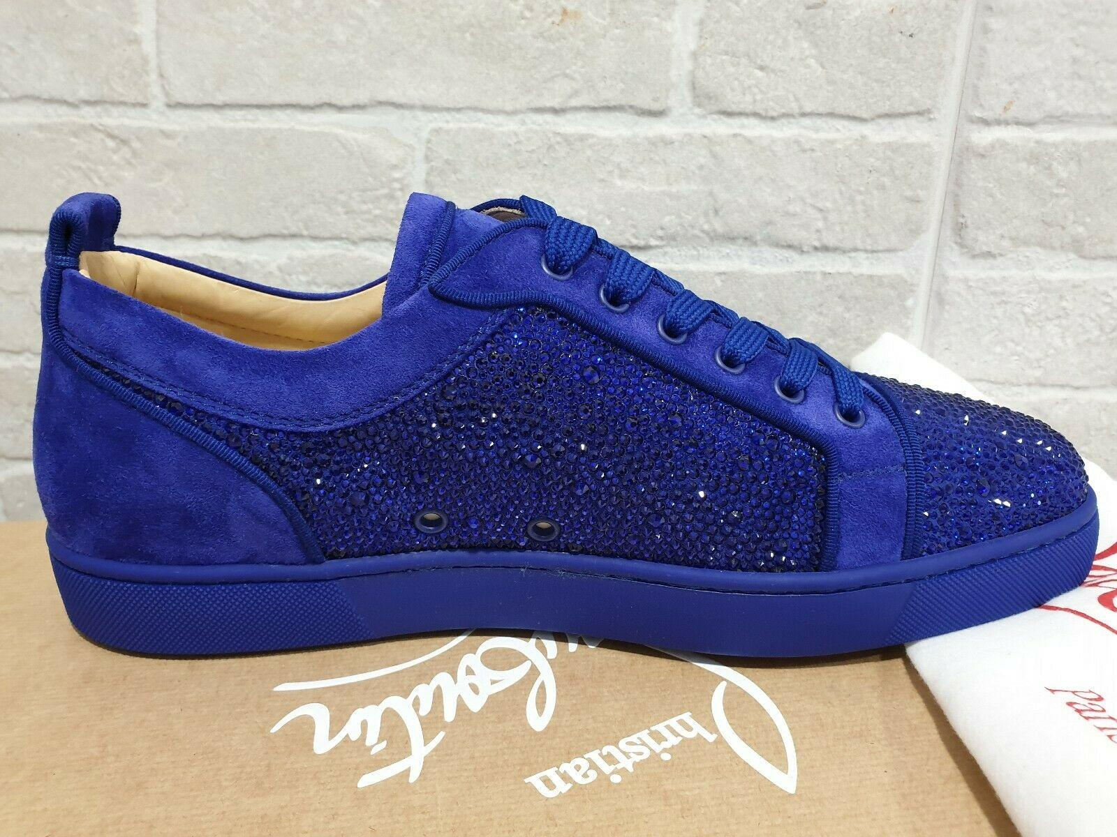 Christian Louboutin Louis Junior Strass Blue Sneakers brand luxury shoes sale