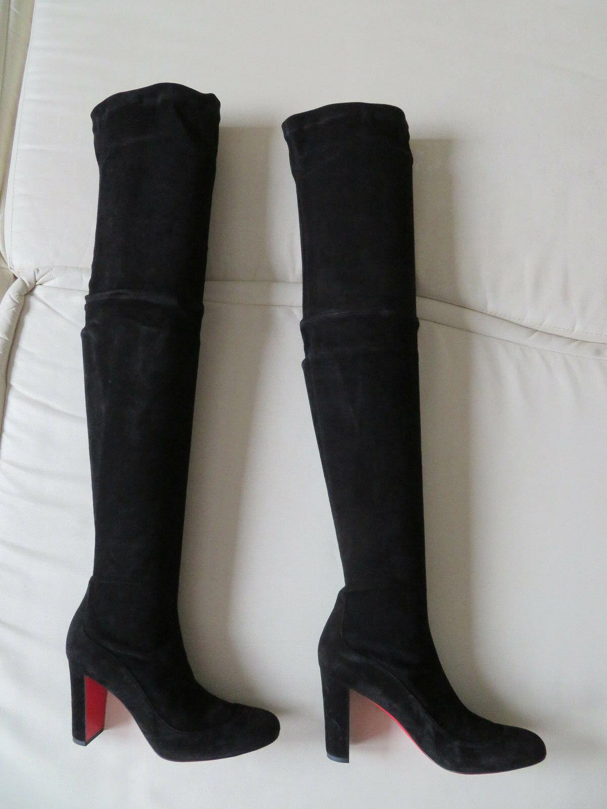 Christian Louboutin Kiss Me Gena 85 OTK Over Knee Black Suede Boots ladies shoes