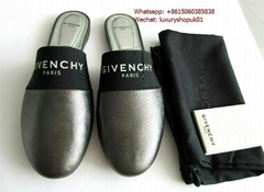 GIVENCHY Bedford leather slippers buttery lamb leather in metallic silver shoes
