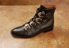 Givenchy Prue Buckle Bootie Black Studded biker Ankle Boots With Buckles women
